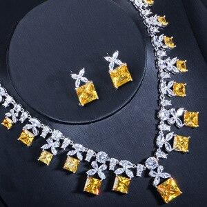 Image 3 - CWWZircons Gorgeous księżniczka Cut żółta cyrkonia kamień kobiety Wedding Party kostium naszyjnik zestawy biżuterii dla panien młodych T351