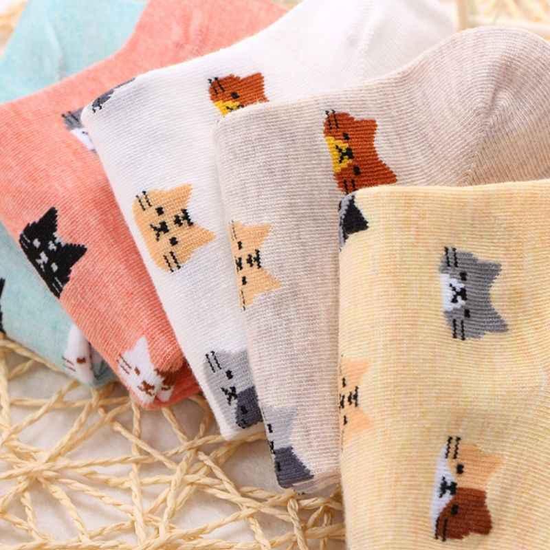Wanita Gadis Musim Panas Rib Trim Kapas Pendek Perahu Kaus Kaki Lucu Kartun Meow Cat Kepala Dicetak Manis Permen Warna Harajuku Jacquard casua