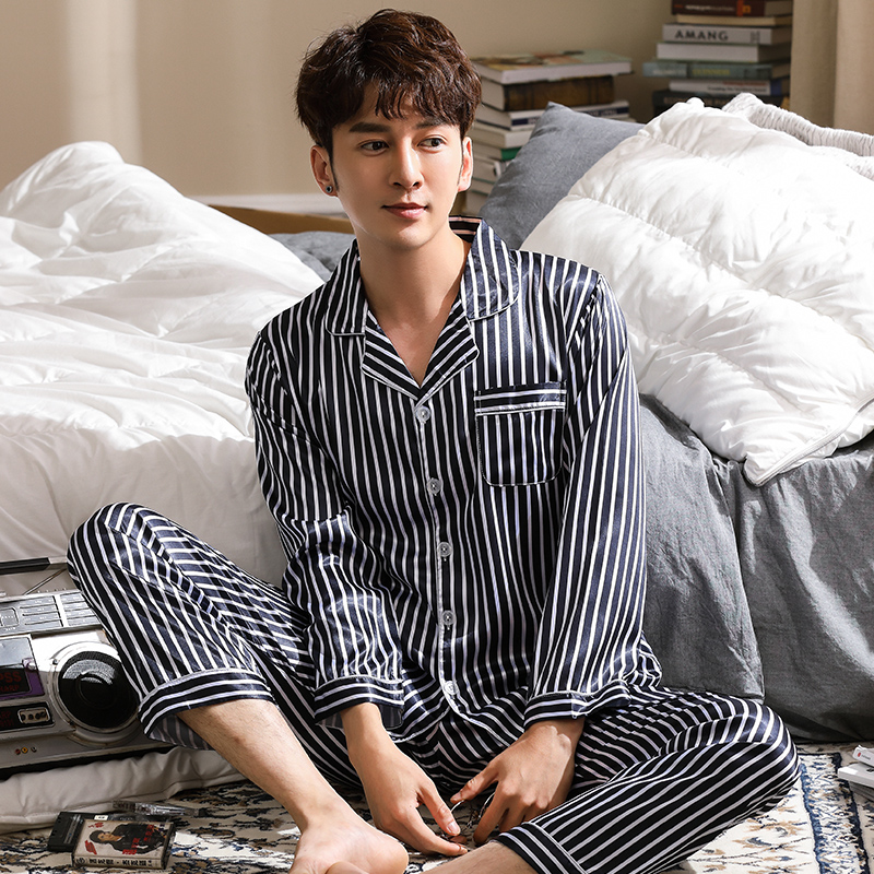 New Arrival Spring Autumn Long Striped Men's Imitate Silk Pajamas Set Cardigan Sleepwear Plus Size L-3XL Male Homewear Clothing