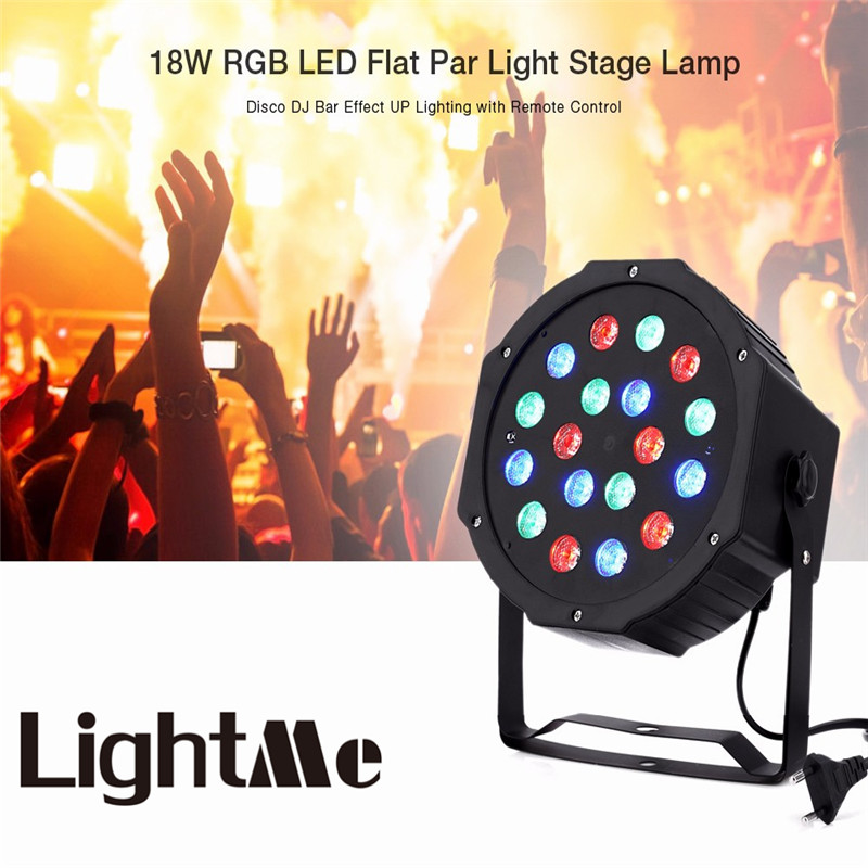 Premium LED Stage Lights 18W RGB LED Flat Par Light Stage Lamp DMX512 Disco DJ Bar Effect UP Lighting  for DJ Disco Party KTV laideyi 36 rgb led stage light effect laser party disco dj bar effect up lighting dmx projection lamp ktv party light