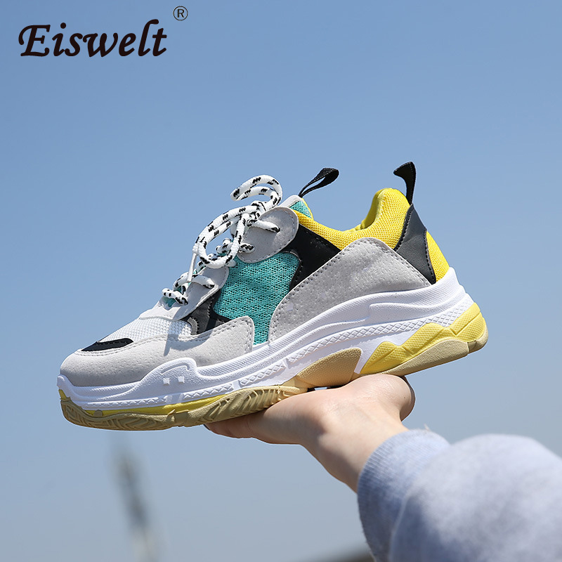 EISWELT 2018 New Women Sneakers Big Size 40 Couple Shoes Air Mesh Breathable Outdoor Cushion Sneakers Shoes Women Fashion Flat