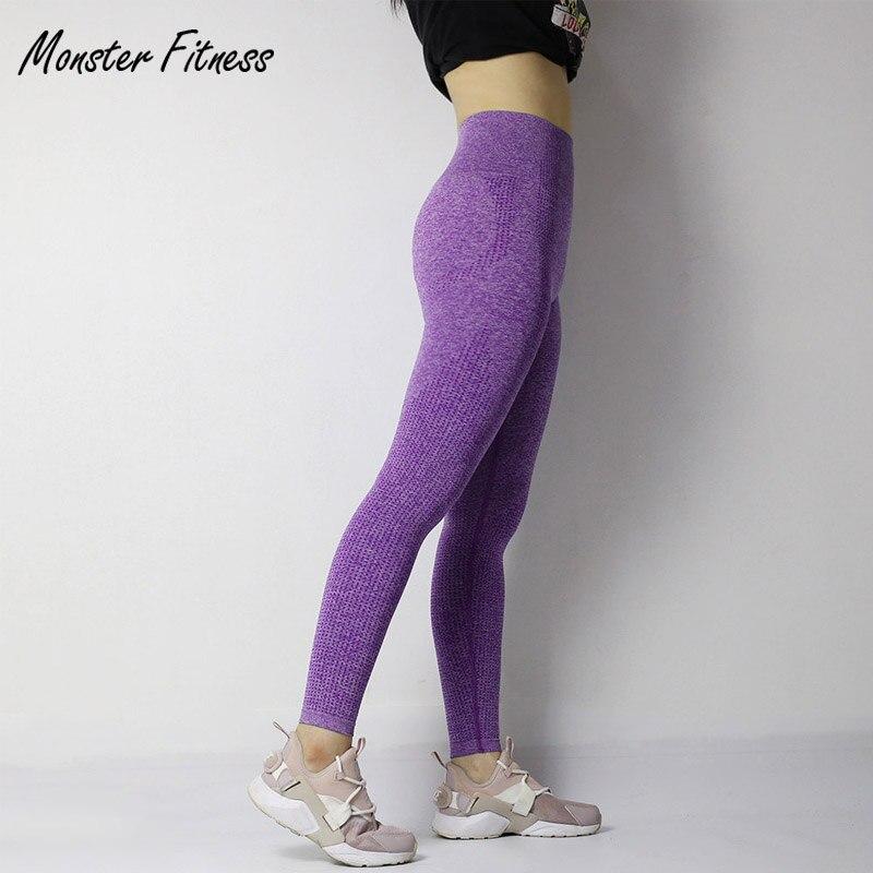 Monster Fitness 2018 mallas de gimnasio Control de barriga pantalones de Yoga de talle alto deporte Ombre Leggings sin costura pantalones de Yoga para mujer