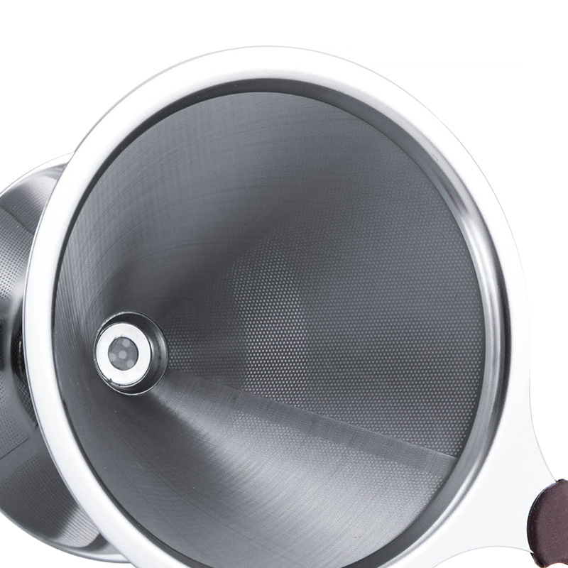 Фильтр для кофе из нержавеющей стали, многоразовый фильтр для кофе, конусный капельница для кофе со съемной подставкой для чашки, залейте ко...