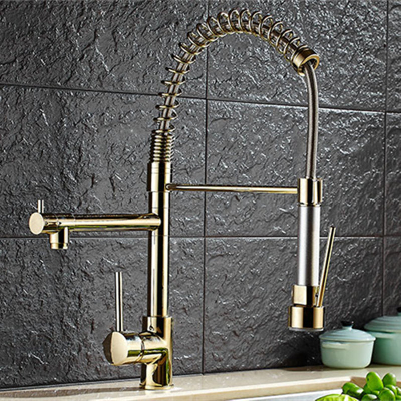 Plating Titanium Gold Pull Out Kitchen Faucet Mixer Multifunctional Water Tap 2 Water Outlet All Around