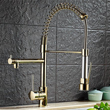 Plating Titanium Gold Pull Out  Kitchen Faucet Mixer Multifunctional Water Tap 2 Water Outlet All Around Rotate Swivel