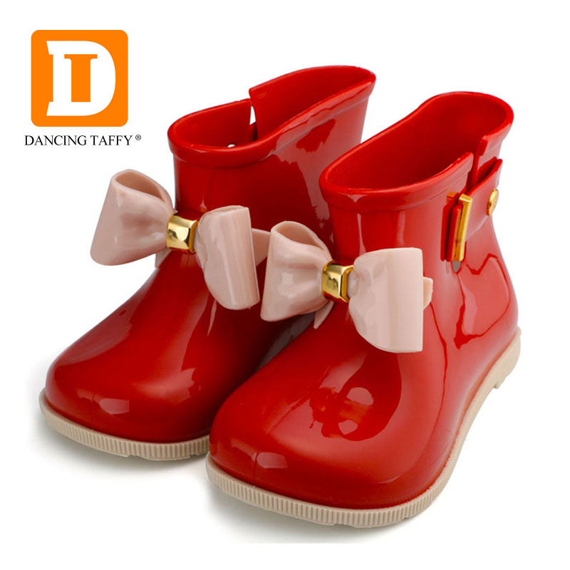 Fashion Children Rainboots Waterproof Girls Child Rubber Boot Jelly Soft Ankle Infant Shoe Girl Boots Bow Baby Kids Rain Shoes