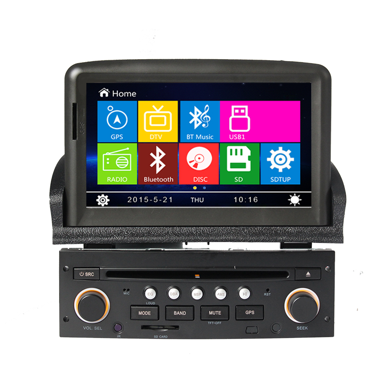 8 car dvd player gps navigation system for peugeot 307 2007 2008 2009 2010 2011 bluetooth radio. Black Bedroom Furniture Sets. Home Design Ideas