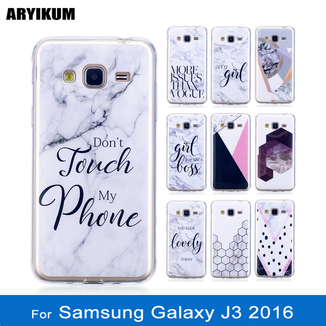 save off 49ac8 6680b US $3.48 |ARYIKUM Silicone Marble Phone Case For Samsung Galaxy J3 2016  2015 SM J320 J320F Girl Case Covers Coque For Samsung J3 2016 etui-in  Fitted ...