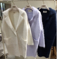 Japanese Mink Cashmere Knitted Coat Lapel Purchasing Long Thick Sweater Cardigan Turn Down Collar Open Stitch