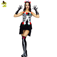 Mexican Day Of The Dead Cosplay Sexy Costumes Halloweeen Skeleton Vampire Sexy Mini Dress Ghost Bride