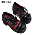 LIN REI Novas Mulheres Bombas Lace Up Punk Estilo Retro Malha Lolita Sapatos de Salto Quadrado de Espessura Sapatos de Plataforma Dedo Do Pé Redondo Bonito Kawaii