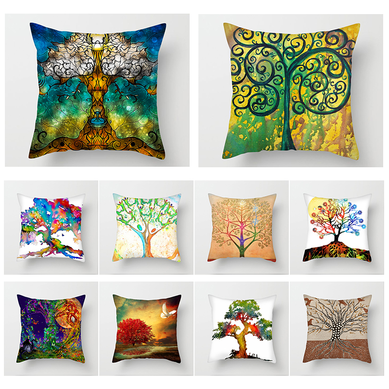 Fuwatacchi Fantasy Tree Pillows Case Abstract Style Painting Cushion Cover for Car Sofa Bed Decor Pillowcase Office Pillow
