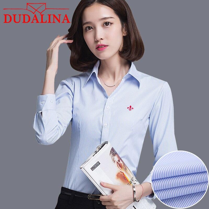 DUDALINA Women Long Sleeve Shirt 2019 NEW Fashion Casual Womens No Ironing Shirt V-neck Big Sizes Long Sleeve Shirt Size XS-4XL