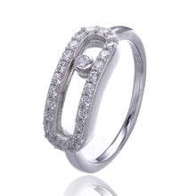 2016 France Famous Jewelry Real 100% 925 Sterling Silver Moved Stone Wedding Rings For Women Vintage Gift Engagement Rings