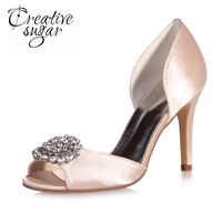 Elegant Satin D Orsay Crystal Rhinestone Charm Open Peep Toe Woman Shoes Sandals Wedding Party Dancing