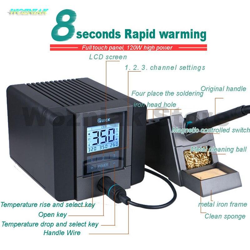 QUICK TS1200A meilleure qualité station de soudage sans plomb fer électrique 120W soudage antistatique 8 secondes soudage rapide par chauffage