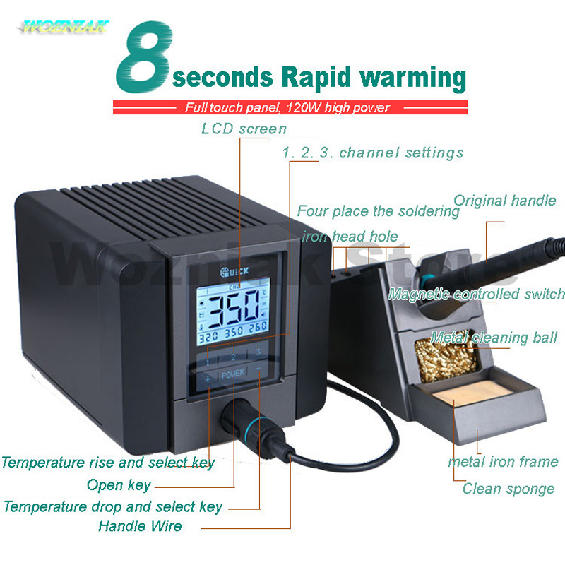 QUICK TS1200A Best Quality lead-free soldering station electric iron 120W anti-static soldering 8 second fast heating WeldingQUICK TS1200A Best Quality lead-free soldering station electric iron 120W anti-static soldering 8 second fast heating Welding