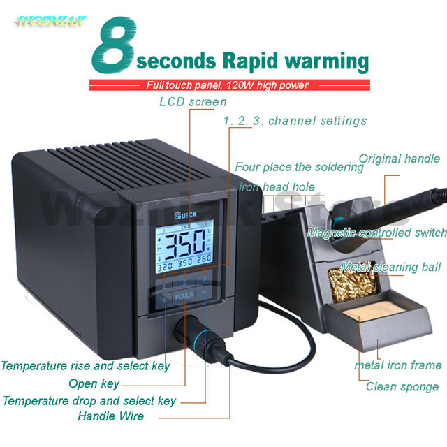 QUICK TS1200A Best Quality lead free soldering station electric iron 120W anti static soldering 8 second fast heating Welding