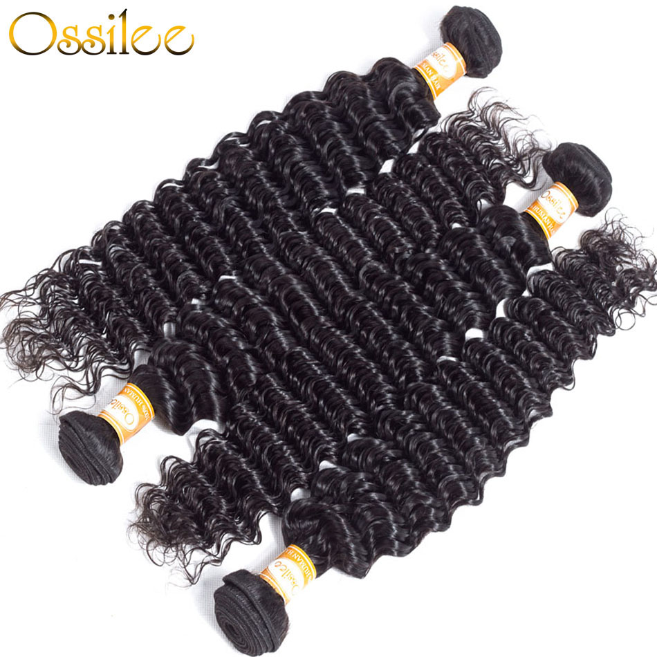 Ossilee Deep Wave Bundles with Closure Peruvian Hair Bundles with Closure Human Hair 3 bundles with closure Non Remy Hair Bundle