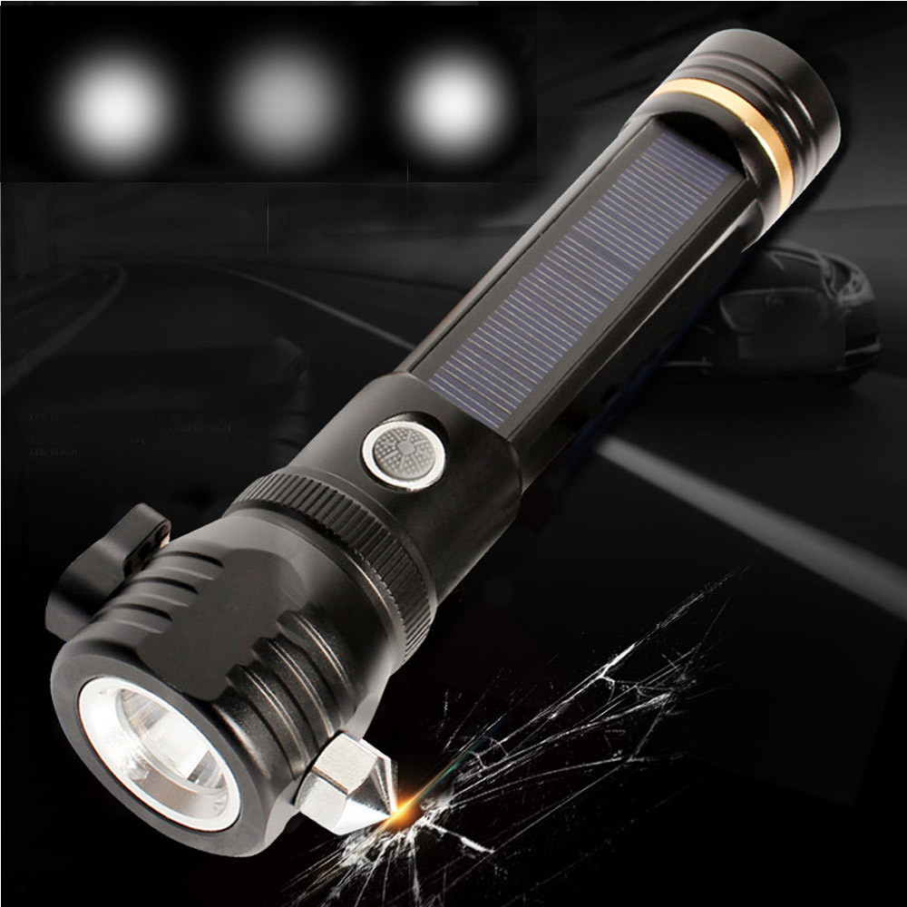 Good 2019 New High Quality Outdoor Safety Hammer Solar Power Flashlight Emergency Rescue Tool Lamp Light Drop Shipping To Have A Long Historical Standing Led Lighting