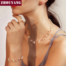 ZHOUYANG Wedding Bridal Jewelry Set For Women Silver Gold-Color Imitation Pearl Party Fashion Jewelry S441 S442(China)