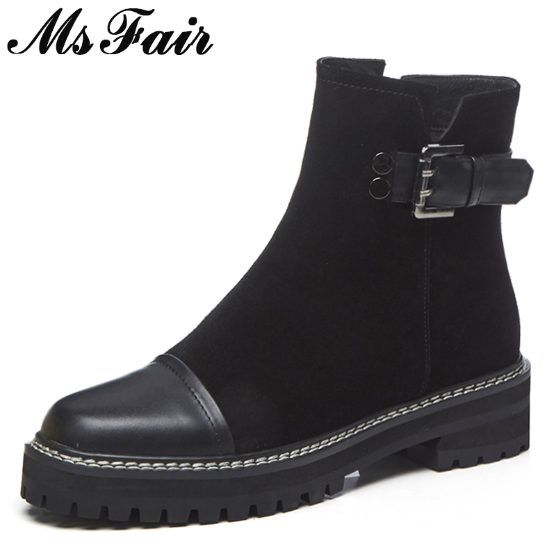 MsFair Round Toe Med Heel Women Boots Genuine Leather Zipper Buckle Ankle Boots Women Shoes Winter Elegant Boot Shoes For Woman elegant round toe hidden heel faux leather women boots buckle winter new fashion female shoes motorcycle footwear bota feminina
