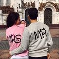 1 piece MR MRS couple Tee shirt long sleeve tops lover women men pull over T-shirt fleece lined