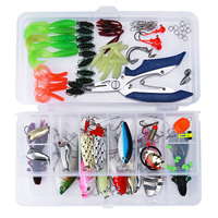 101pcs Bionic Lure Fishing Lure Bait Minnow Crank Spoon Soft Hard Bait Spinner Hook Tackle