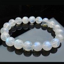 10 мм натуральный лунный камень браслеты для женщин Женский прозрачный синий свет круглые Кристальные бусины Эластичный очаровательный браслет
