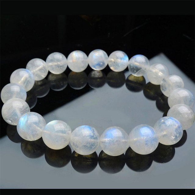 10mm Genuine Natural Moonstone Bracelets For Women Lady Transpa Blue Lights Crystal Round Beads Stretch Charm