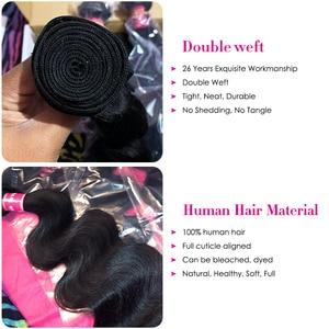 Image 4 - Longqi Hair Body Wave Bundles with Closure Malaysian Hair 3 Bundles with Closure Remy Human Hair Closure with Bundles