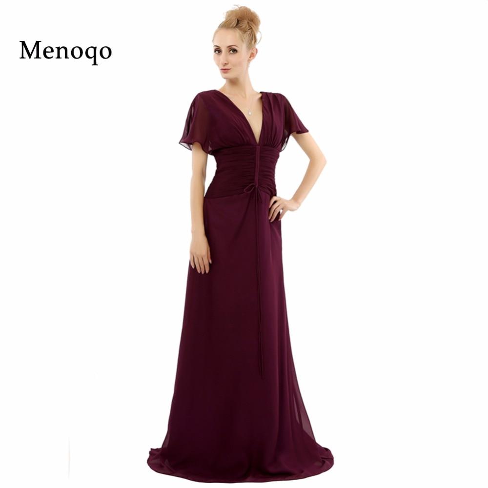 Vestidos madre de la novia A line V neck Chiffon Short sleeve Floor Length New Evening Dress 2018 Real Mother Of The Bride Dress