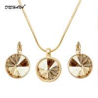 Unique Design Necklace Set Mix Platinum 18K Real Gold Plated Trendy Round Pendant Necklace Earrings