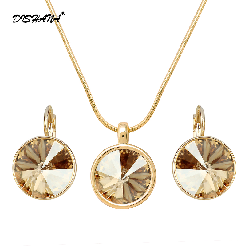 Unique Design Necklace Set Mix Gold -color Trendy Round Pendant Necklace Earrings Women Jewelry Set(JS0050) orange morganite stylish jewelry set for women white zircon gold color rings earrings necklace pendant bracelets