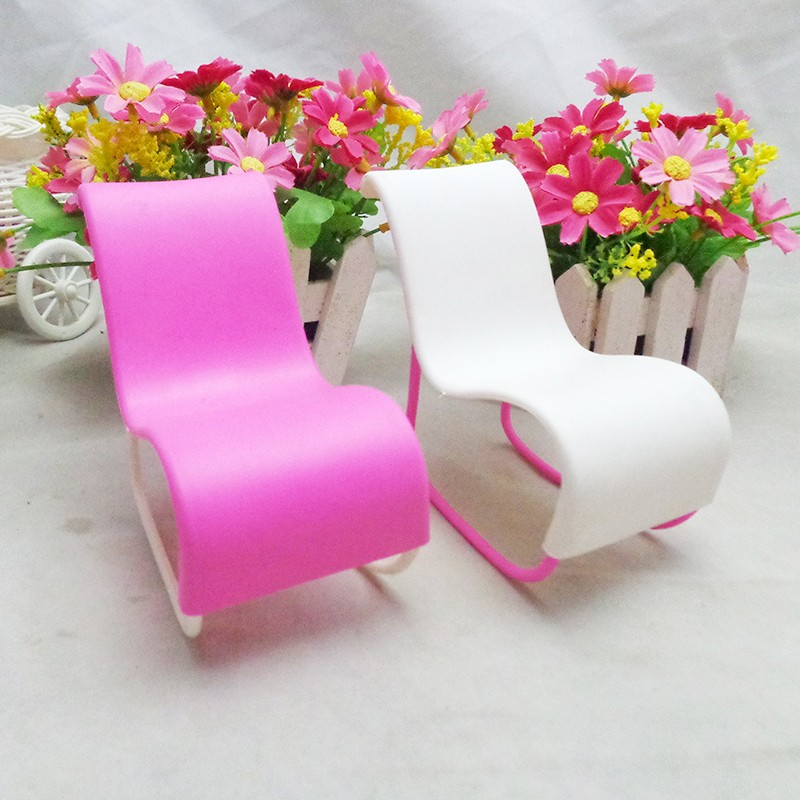 Children's Rocking Ddeck Chair Accessories For Barbie Doll's House Decoration Rocker Toy Kids Gift Doll Lifestyle Accessorie