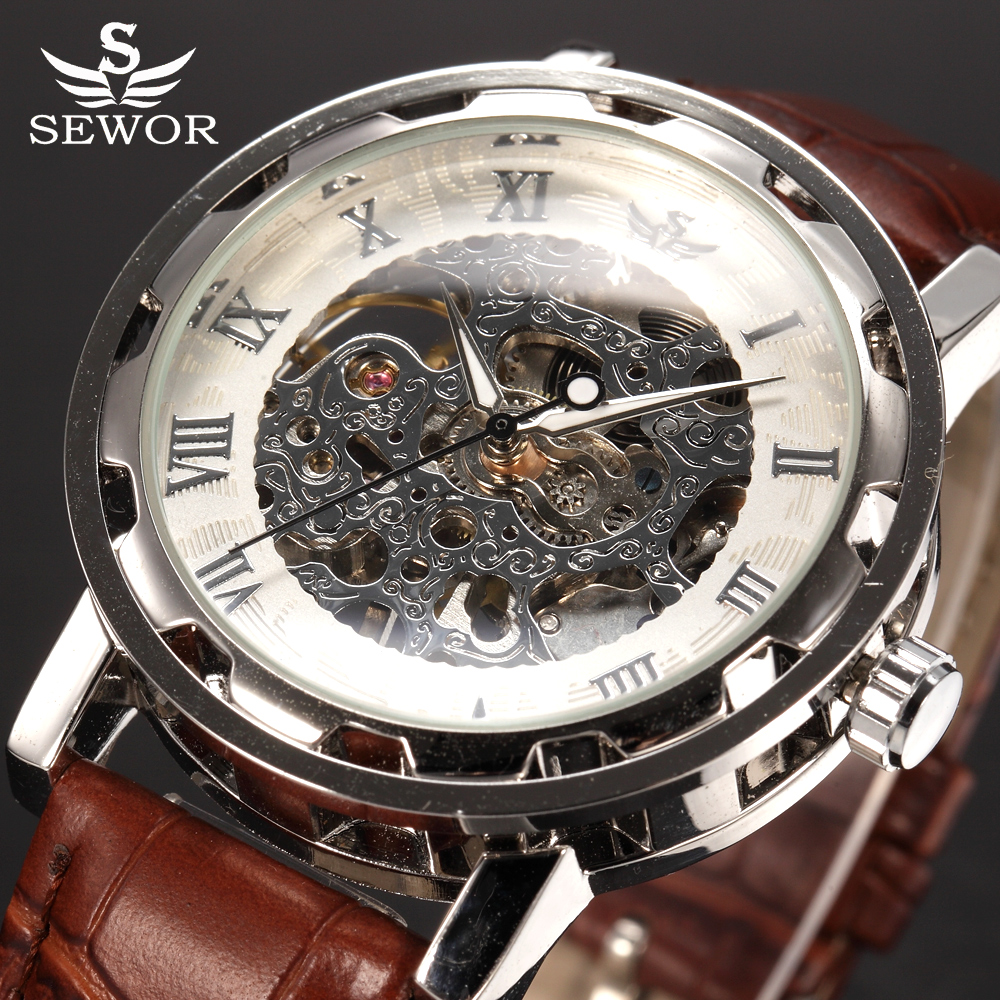 SEWOR top brand Luxury Royal Leather Silver Transparent Wristwatches Fashion Casual Business Clock Skeleton Mechanical Watch sewor c1257
