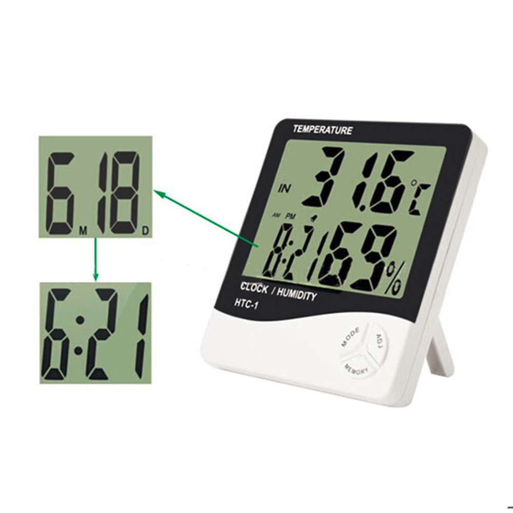 Digital Room LCD Thermometer Electronic Temperature Humidity Meter Hygrometer Weather Station Indoor Alarm Clock HTC-1 multifunctional home humidity thermometer lcd digital hygrometer temperature meter clock measurement device