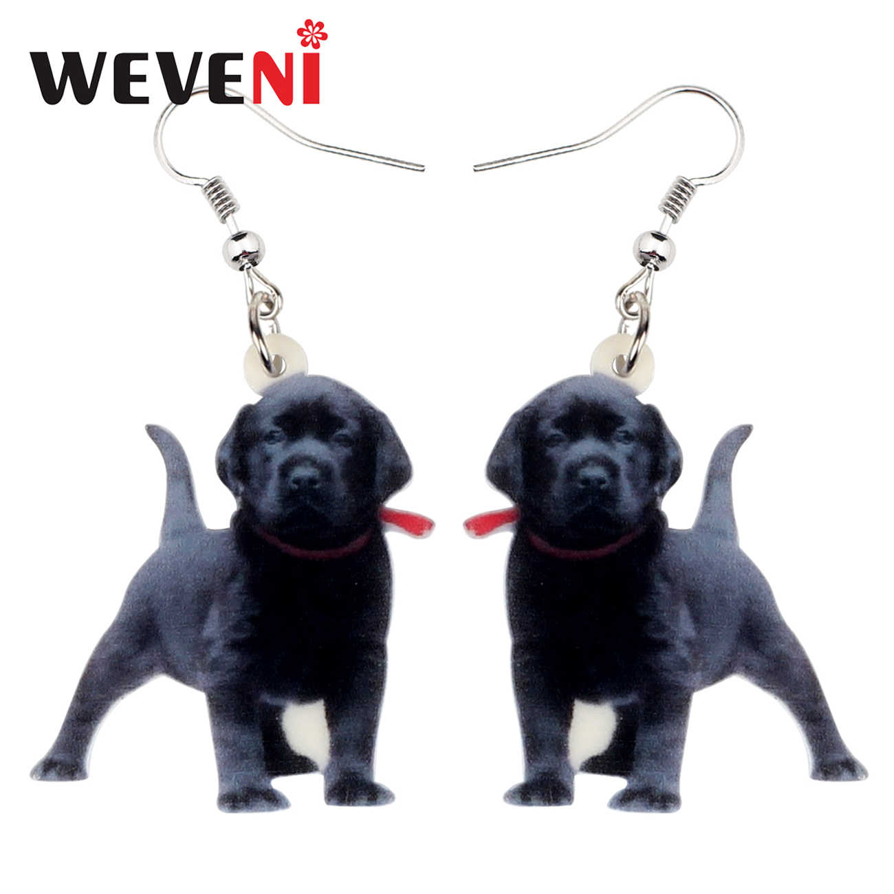 WEVENI Acrylic Black Labrador Dog Earrings Big Dangle Drop Cute Animal Pet Jewelry For Women Girls Ladies Gift Charms Femme New