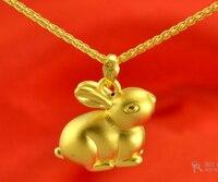 Gorąca sprzedaż nowa czysta 24 k żółtego złota zawieszka/3d szczęście piękny królik wisiorek/2.95g