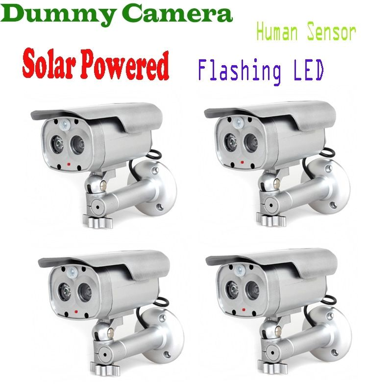 4 pcs/lot Motion Detection Bullet Camera Security Dummy Solar Powered w/ Flashing LED 4 pcs lot motion detection bullet camera security dummy solar powered w flashing led