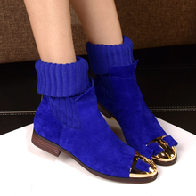 Woolen Tube Elastic Women Boots Leather100% Lady Martin Boots Flat Iron Head Madam Chelsea Boots Candy Colors Female Shoes 34-40