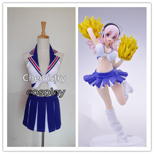 Super Sonico cheerleader Cosplay Costume Custom Made: Free Shipping