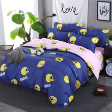 Duck Pattern Blue Pink Duvet Cover Sets Quilt Comforter Pillow Case Soft Cotton Bed Linens Kids Single Double Queen Size24(China)