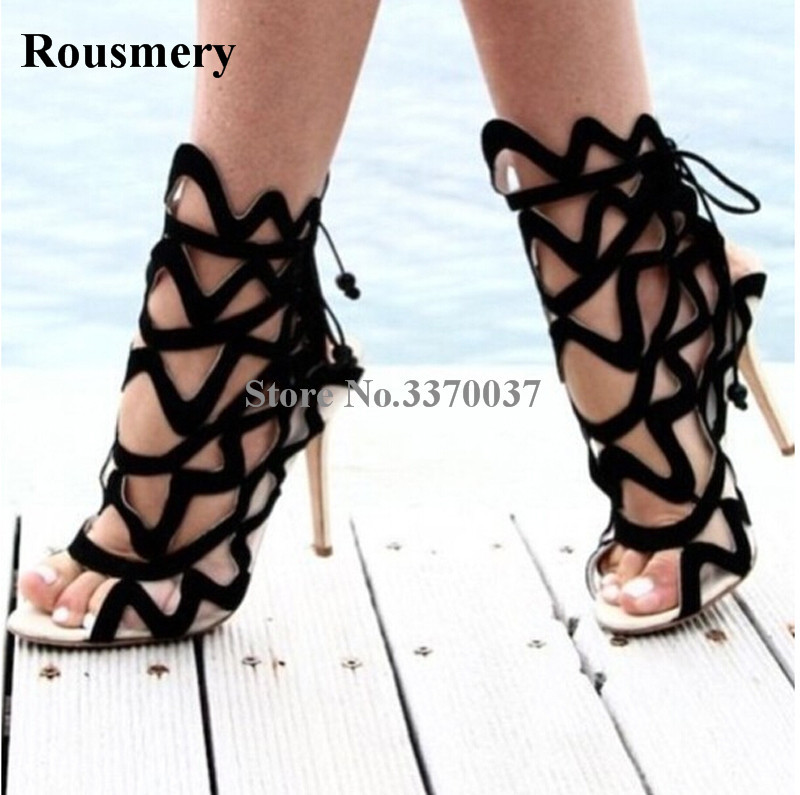 Women Newest Open Toe Black Suede Leather Mesh Gladiator Sandals Cut-out Stiletto Heel Sandals High Heel Sandals elegant women s sandals with suede and stiletto heel design