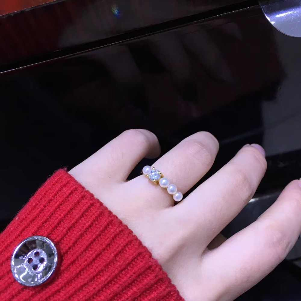 YIKALAISI 925 เงินสเตอร์ลิงเครื่องประดับ Pearl แหวนแฟชั่นผู้หญิง 100% ธรรมชาติ 3-4 มม.ไข่มุกน้ำจืดขายส่ง