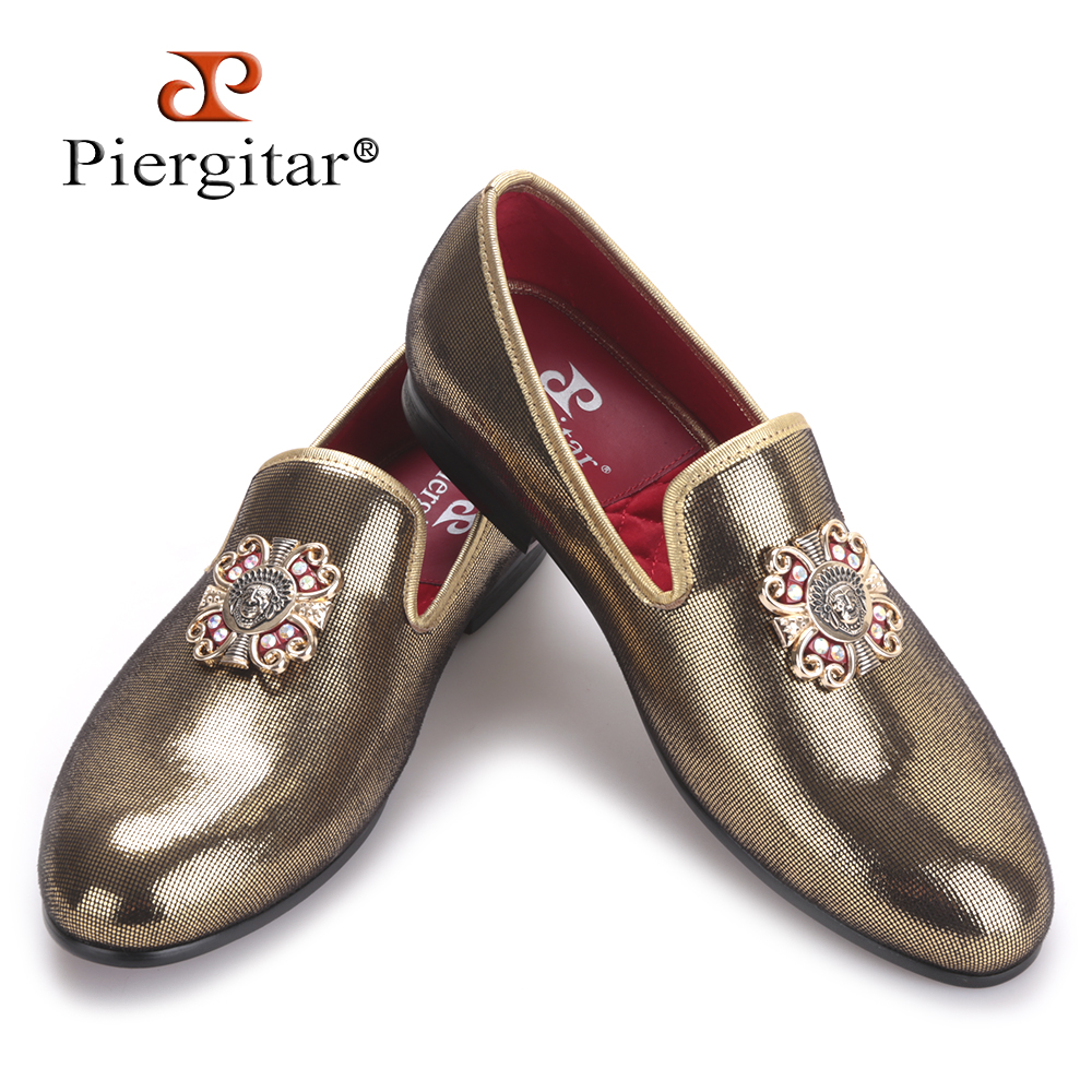 PIERGITAR 2017 new handmade men gold PU shoes with gold cross Charm Party and wedding men dress shoes Plus size men's loafers аккумулятор maverick m409 4000mah white