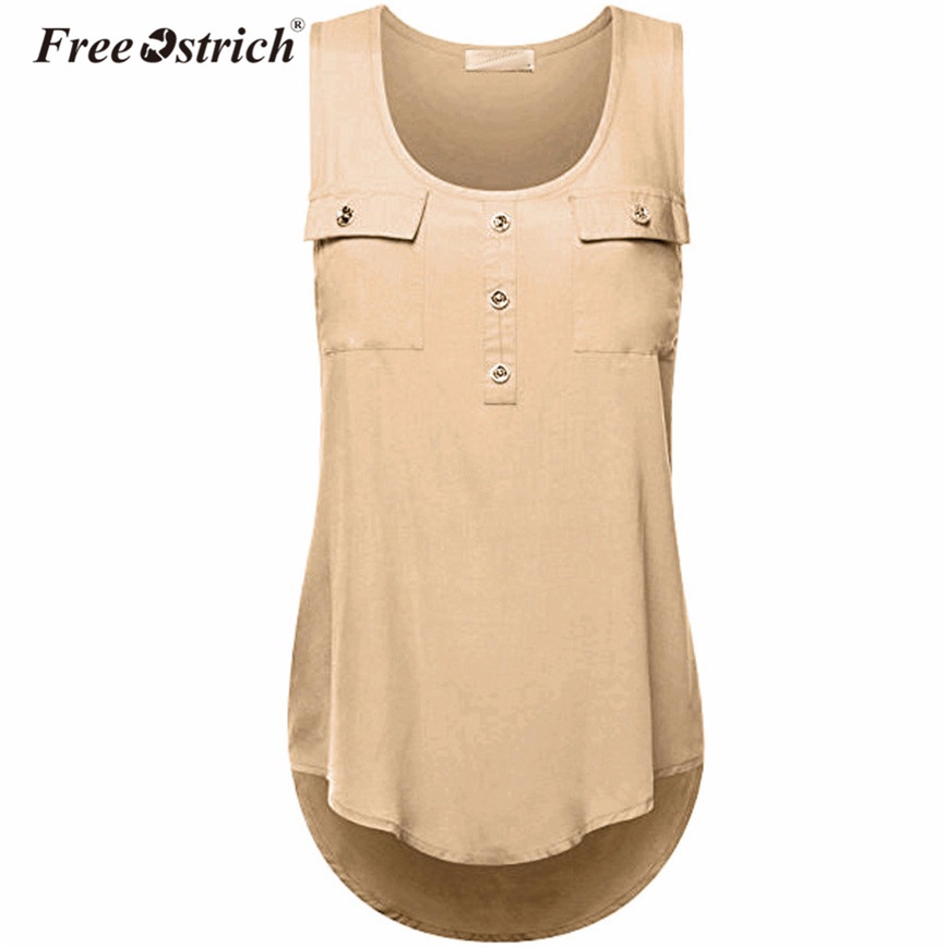 Free Ostrich Summer Oversized   Tank   Women Sleeveless Solid Buttons Pockets Casual Loose   Tops   Elegant Plus Size   Tank     Tops   N30