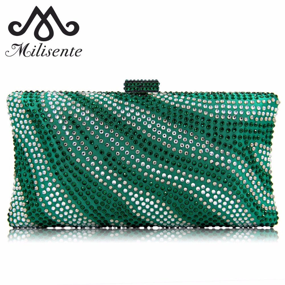 Milisente Brand Women Evening Bags Ladies Crystal Wedding Bag River Royal Blue Pattern Party Purses
