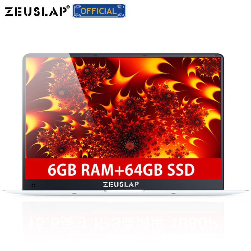 ZEUSLAP-X5 15.6inch 1920X1080P 6GB Ram 64GB SSD Windows 10 System Ultrathin Intel Quad Core Fast Boot Laptop Netbook Computer