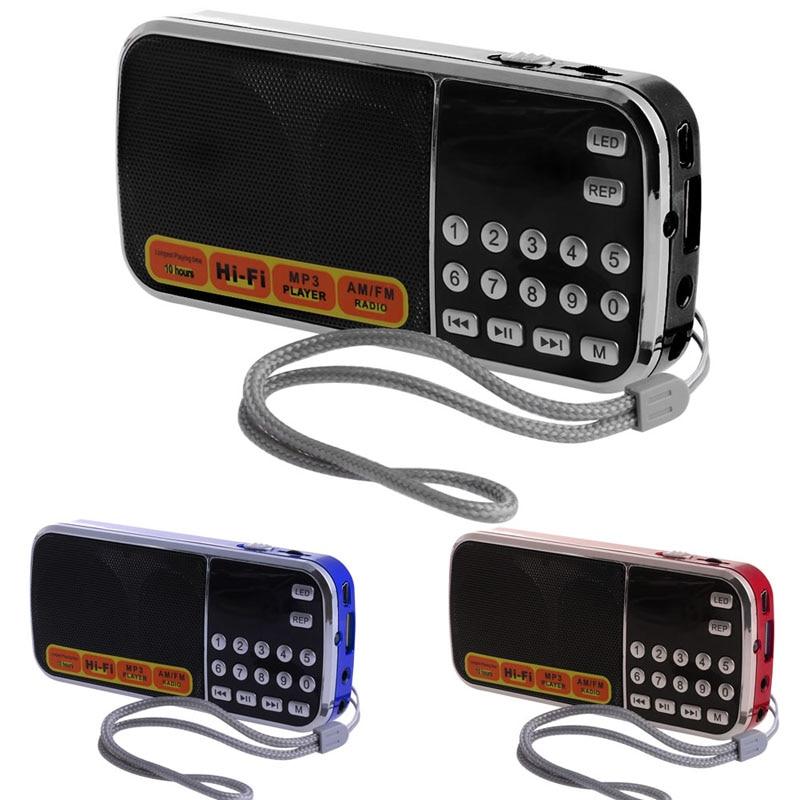 OOTDTY Mini LCD Receiver Digital FM AM Radio Speaker USB Micro SD TF Card Mp3 Player instabox i50 wooden multi functional fm radio receiver mp3 bluetooth speaker player alarm clock support micro sd tf card usb